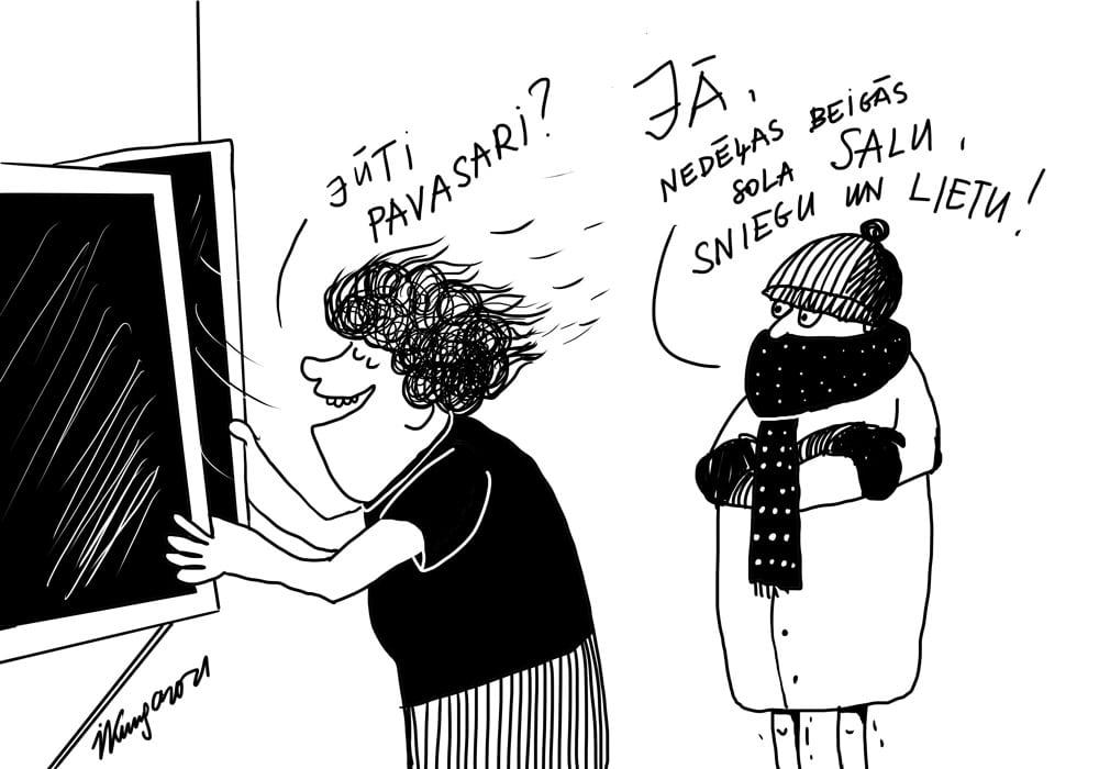 Karikatura_29-03-2021 - Fühlst du Frühling? - Ja, am Wocheneende kommt Frost, Schnee und Regen!
