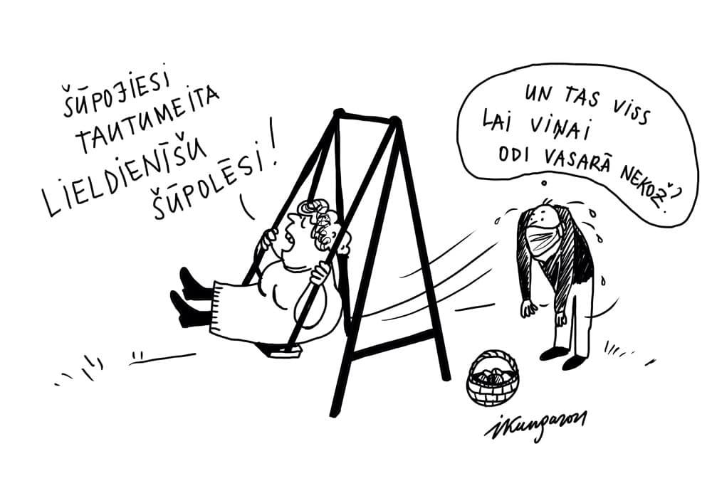 Karikatura_31-03-2021 - Osternschaukeln hilft gegen Mücken!