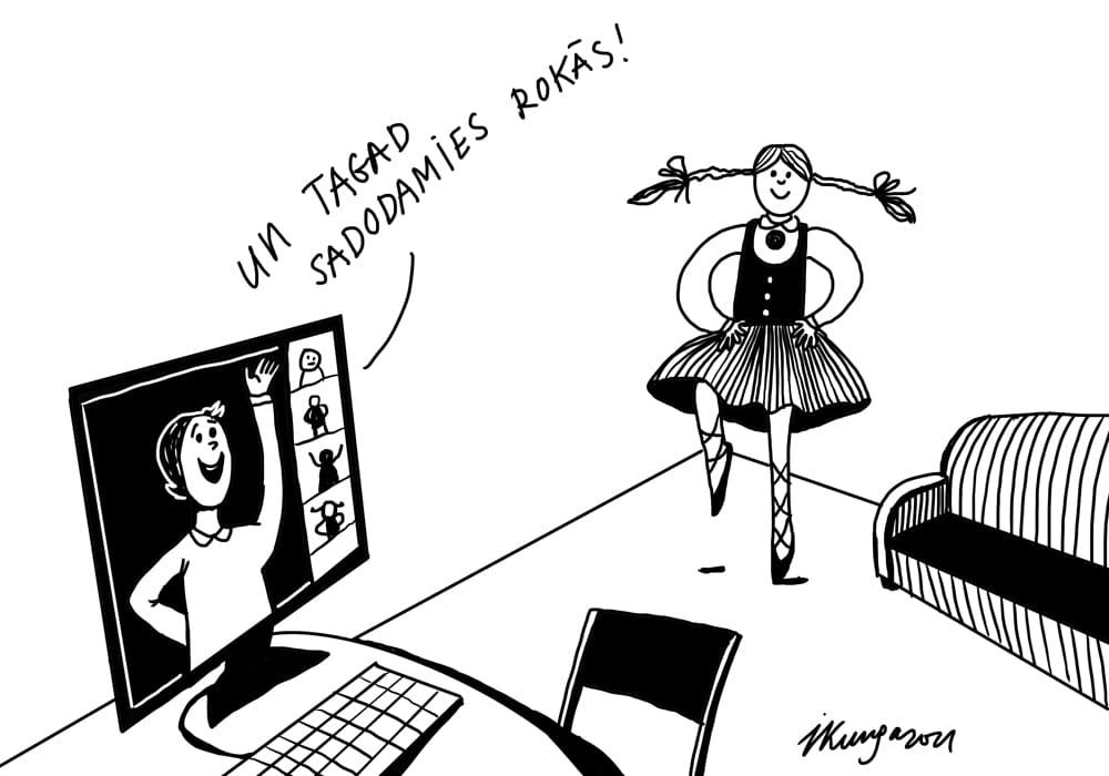 Karikatura_28-04-2021-Ieva-Kunga -Gatavojamies skolēnu dziesmu un deju svētkiem ar nemainīgiem ierobežojumiem.